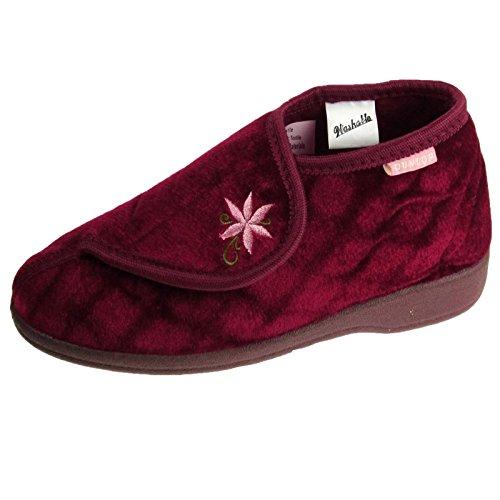 Donna Pantofola A Stivale Dunlop Celia Donna Scarpe A Strappo Morbido Slip On Calzature - Vino, Donna, 6 UK / 39 EU