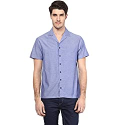 Atorse Mens Self Design Blue Casual Shirt