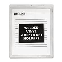 C-Line Vinyl Shop Ticket Holder for 9 x 12 Inch Insert with Clear Sides 50 Count (80912)
