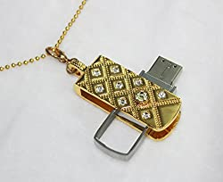 Anyusb072 Fancy Jewellery Studded Swivel Pen Drive (8 Gb) + Exclusive Hand Made Gift Box