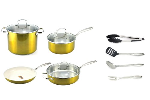Kevin Dundon SKD11CWSGL 11-Piece Cookware Set, Gold (Kevin Dundon Nonstick Cookware compare prices)
