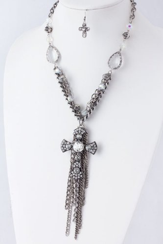 CRYSTAL CROSS CHAIN TASSEL NECKLACE
