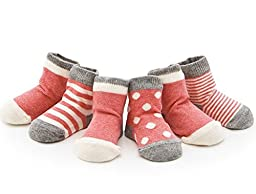 Izzy & Roo Heathered Baby Socks - Set of 4 Pair (0-12 Months, Rose)