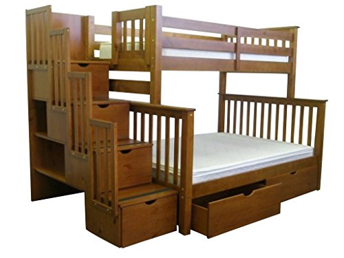Bedz King Bunk Beds with 2 Under Bed Drawers, Twin over Full with Stairway, Expresso (Full Expresso Bed compare prices)