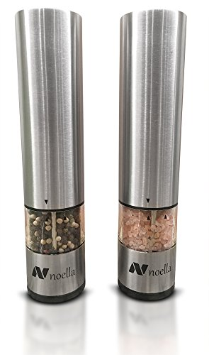 #1 Automatic Salt and Pepper Grinder Set: Best Electric Pepper Mill and Salt Grinder on the Market By Noella  with LED Light, Quality Stainless Steel Construction - 100x Better Than Manual Grinders (Shaker Electronic compare prices)