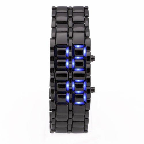 Black Metal Band Iron Lava Samurai Style Wrist Watch Faceless Japanese Inspired Blue Led