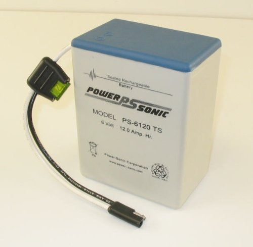 Powersonic PS-6120TOY(S) - 6 Volt/12 Amp Hour Sealed Lead Acid Battery with Wire Lead and S-Type Connector
