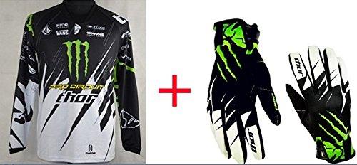 黒 白 オートバイ 自転車 レーシングスーツ 長袖Tシャツ一枚+グローブ一双 (グローブM, TシャツXL)