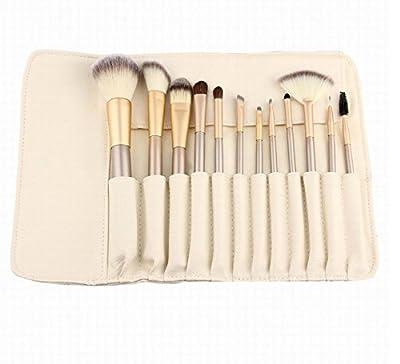 12 Piece Makeup Brushes Set | Horse Hair Professional Kabuki Makeup Brush Set Cosmetics Foundation Makeup Brushes Set Kits with White Cream-colored Case Bag