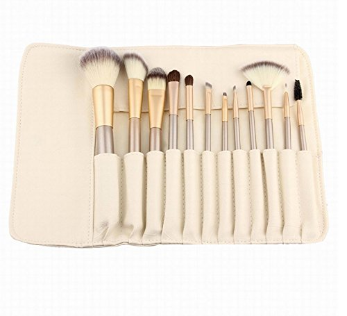 12 Piece Makeup Brushes Set | Horse Hair Professional Kabuki Makeup Brush Set Cosmetics Foundation Makeup Brushes Set Kits with White Cream-colored Case Bag (12 Piece Make Up Brush Set compare prices)