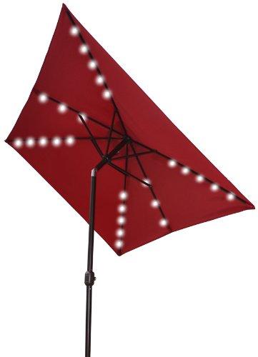 x6 5 outdoor solar 26 led lights aluminium patio umbrella rectangle. Black Bedroom Furniture Sets. Home Design Ideas