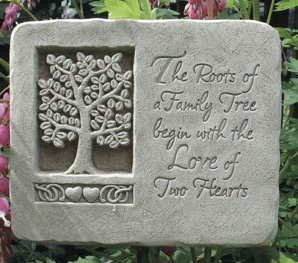 Cast Stone Expressions Collection - Roots Of Love Family Tree, Hearts Plaque - Anniversary, Wedding, Other Special Occasion Gift - Natural Patina Finish