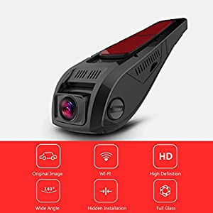 PRUVEEO F5 Car Dash Cam with Wifi, APP Support IOS & Android System, 140 Degree Wide Angle Dashboard Camera Driving Recorder DVR for Car Vehicles
