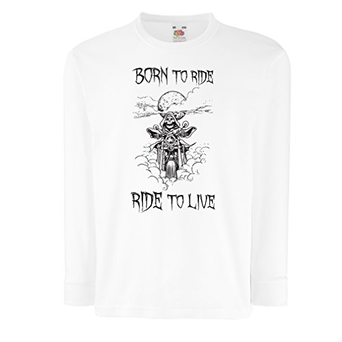 N4690D Bambini t-shirt con maniche lunghe Born To Ride! motorcycle clothing (14-15 years Bianco Multicolore)