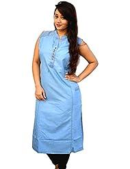 Aarti Collections Pocket Style Light Blue Womens Denim Kurti