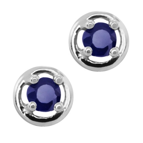 010-Ct-2mm-925-Sterling-Silver-Genuine-Round-Blue-Sapphire-4-prong-Stud-Earrings