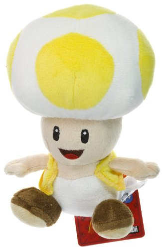 Super Mario Brothers, Nintendo Yellow Toad 6.75 Plush - New Super Mario Bros Wii Deluxe Plush Series