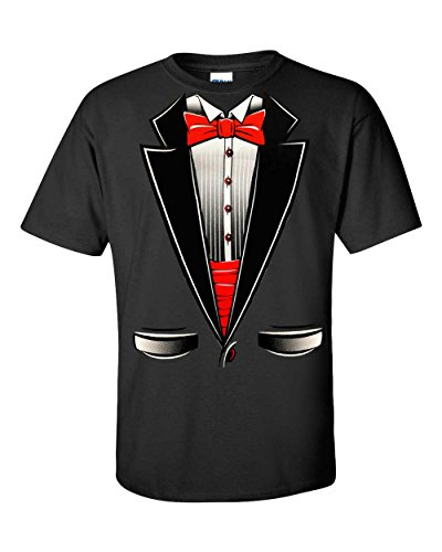 Fresh Tees® Brand- Tuxedo With Bowtie T-Shirt Funny Shirts (X-Large, Black)