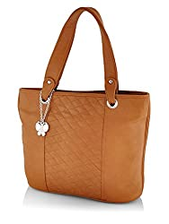 Butterflies Women's Handbag (Tan) (BNS 0593TN)