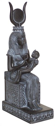 Isis Nursing Horus Statue, Black Finish