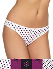 5 Pack Cotton Rich Star Print Bikini Knickers