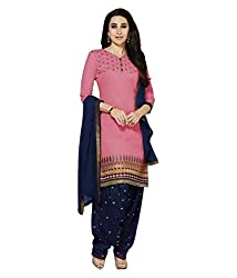 Adorn Mania Pink Chanderi Embroidered salwar Suits Dress Material