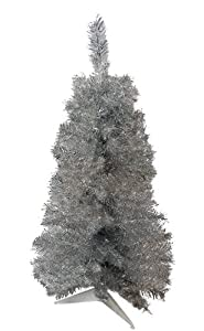 3' Silver Tinsel Artificial Christmas Tree - Unlit