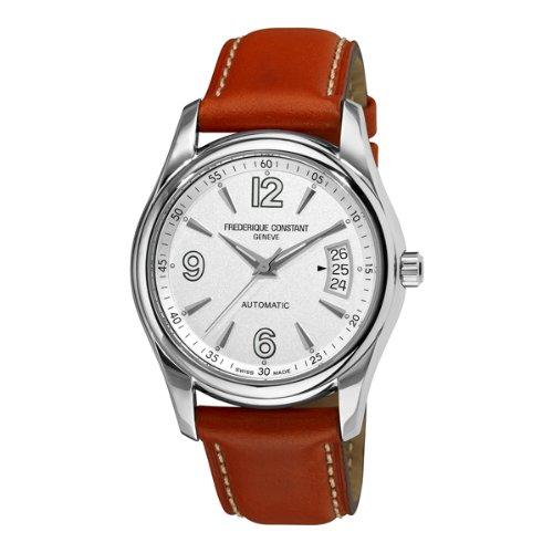 Frederique Constant Men's FC-303S4B26 Junior Silver Dial Brown Strap Watch