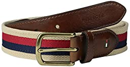 Tommy Hilfiger Men\'s Casual Fabric Belt with Ribbon Overlay and Leather Tabs, Red/Navy, 40