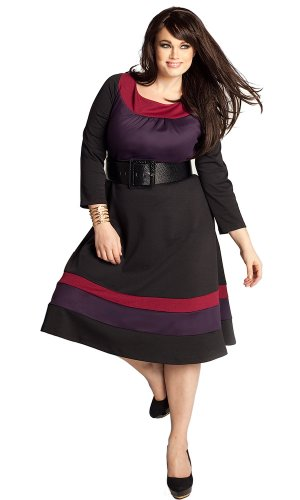 Buy IGIGI by Yuliya Raquel Plus Size Nellie Colorblock Dress in Berry