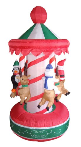 6.5' Airblown Inflatable Animated Christmas Carousel Lighted Yard Art Decoration front-133454