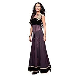 Isha Enterprise Women's Georgette Anarkali Suit Dress Material (KFS700-2201_Black , Purple)