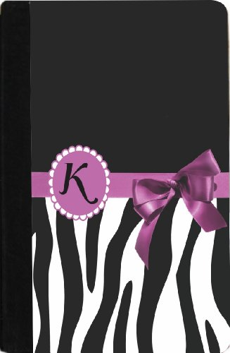 "Rikki Knighttm Letter "" K "" Violet Zebra Bow Monogram Design Design Kindle® Firetm Notebook Case Black Faux Leather (Not For Kindle Fire Hd)"