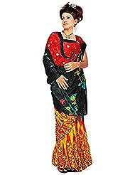 Vamika Chiffon Brush Paint Saree (Red & Black)