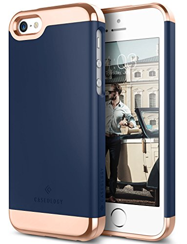 iPhone SE Case, iPhone 5S Case, iPhone 5 Case, Caseology [Savoy Series] Slim Two-Piece Slider [Navy Blue] [Chrome Rose Gold] for Apple iPhone 5/5S/SE (Nv Phone Case compare prices)