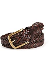 Nautica Mens Braided Leather Belt, Brown