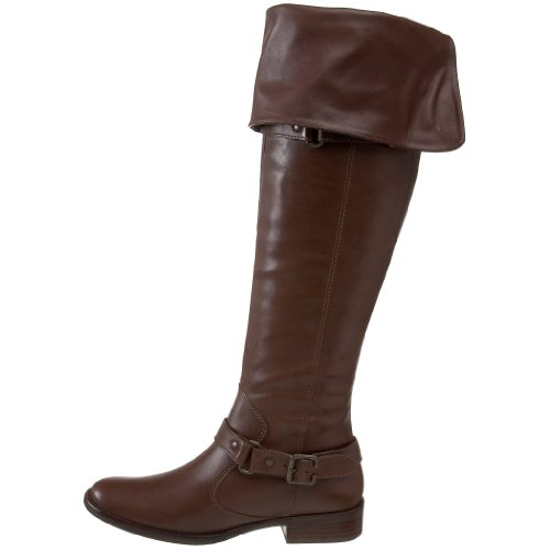 Model WOMENS LADIES KNEE HIGH SLOUCH PIRATE CUFF LEATHER STYLE FLAT BOOTS