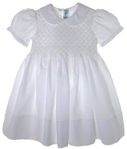 Infant Toddler Girls White Smocked Portrait Dress With Collar (4T) front-676939