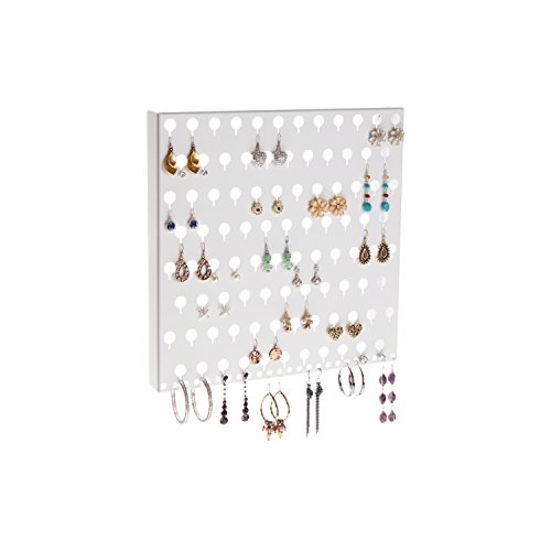 Wall Earring Holder Rack Display Jewelry Storage Closet Organizer - Angelynn's (Sariea White) (White Earring Rack compare prices)