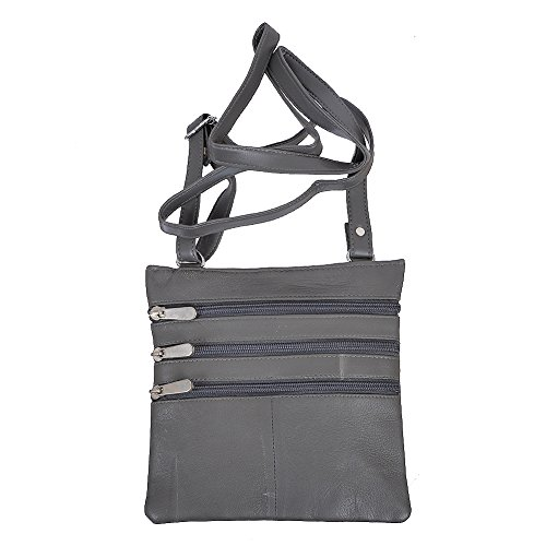 Champs Women's Genuine Leather 4 Pocket Purse and Adjustable Shoulder Strap Grey