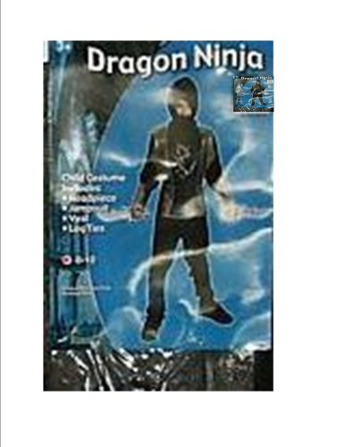 Ninja Black Gold Costume Dress-up NWT L 8-10 (Gold Ninja Costume Boys compare prices)