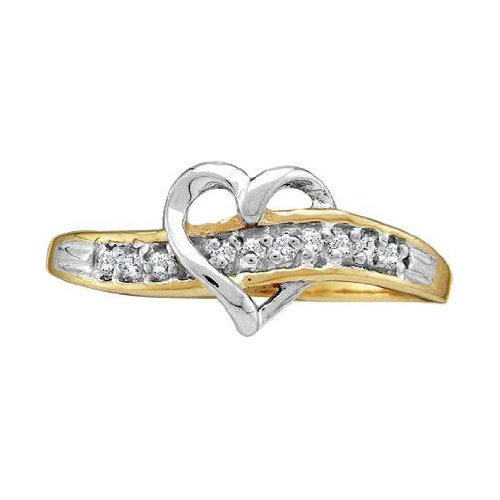 Heart Ring Two Tone with Diamond Band 14K White and Yellow Gold, size 7