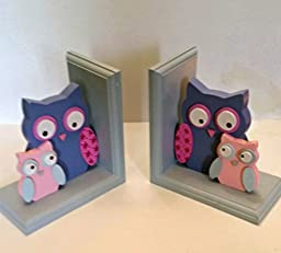 Owl Wooden Bookends (Blue) Set/2 by DesignStyles