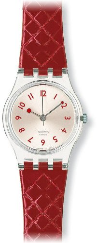 Swatch Strawberry Jam Red Leather Strap Ladies Watch - LK243