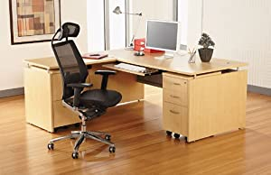 3 5pc L Shape Modern Contemporary Executive Office Desk