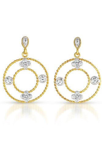 Cubic Zirconia and Sterling Silver Round Two Tone Earrings