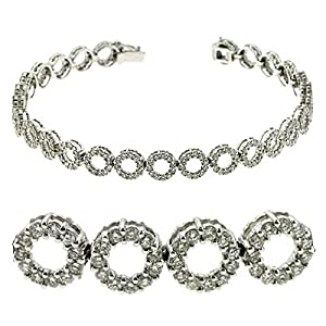 14K White Gold 3.26cttw Round Diamond Bracelet