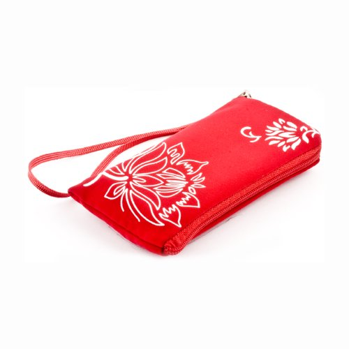 Neopren Zipper Tasche Handytasche FLOWER ROT mit Blumenmuster f&#252;r Nokia 5230 5800 XpressMusik Samsung F480 S5230 S5620 Monte S8000 Jet S8500 Wave LG KP500 Cookie KM900 Arena KM570 Arena II Apple iPhone 3G 3GS 4 HTC Desire HD2 Nikon Coolpix S3000 S4000 Rei&#223;verschluss