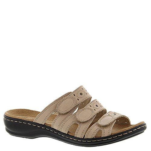 Clarks Women's Leisa Cacti Slide Sandal, Nude Leather, 11 M US