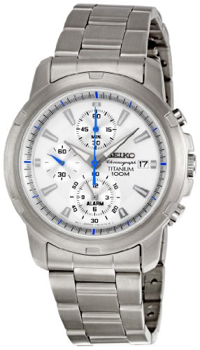 Seiko Men's Quartz Chronograph Watch SNAE45P1 with Titanium Chrono Bracelet and White Dial